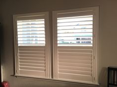 Eclipse plantation shutters, 3 1/2 inch louver, with deluxe trim