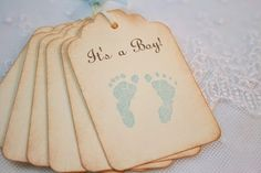 It's a Boy Footprint Tags Baby Shower Favor Tags Gift Tags Stamped Vintage on Etsy, $5.95