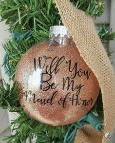 Will You Be My Maid of Honor Christmas Ornament-Glitter Ornament-Christmas Ornament-Plastic Ornament-Shatterproof Ornament-Holiday Gift by ALittleLadyandMe