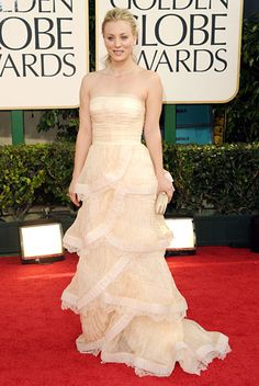 Kaley Cuoco wearing  Katharine Kidd to the 2011 Golden Globes