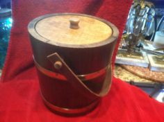 VINTAGE WOODEN & BRASS BAND ICE BUCKET
