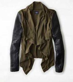 OMG. Gotta get it! AEO Draping Contrast Sleeve Jacket