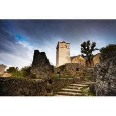 Fortified church at La Couvertoirade Aveyron Midi-Pyrenees France Canvas Art - Panoramic Images (36 x 24)
