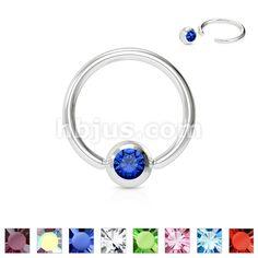 One Blue Imitation Pearl Captive Bead Ring-14g-3//8 inch-10mm-Ear Piercing Hoop Body Jewelry