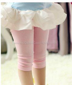 เลคกิ้งเด็กหญิงผ้ายืด 5 ส่วน สีชมพูอ่อน - S (4) M (4) L (4)