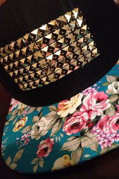 Custom Embellished Floral Snapback on Etsy, $22.99