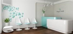 Teal as an accent with white crisp walls Ripe Dental Office Architects Medical Office Interior, Dental Office Decor, Medical Office Design, Healthcare Design, Office Art, Office Ideas, Clinic Interior Design, Clinic Design, Dental Reception