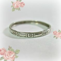 Antique Jewelry Designs :  Antique Art Deco Sterling Silver Wedding Band - F...