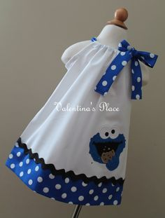 Sesame Street's Cookie Monster in pillowcase style dress by Valentinasplace on Etsy Birthday Greetings For Mother, Mother In Law Birthday, Happy Birthday Dog, Birthday Love, Birthday Quotes For Her, Birthday Gifts For Boyfriend, Sesame Street Cookies, Girls Frock Design, Pillow Dress