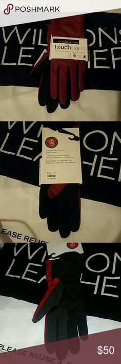 Wilson leather touch point leather gloves GENUINE Brand new with tags Wilson leather ladies red gloves with black touch screen technology material. The leather is 100% genuine cow leather. I have a ladies size large/xtra large. The black material is a little stretchy. They smell nice like leather too. Feels super soft and genuine leather keeps you warm. Smoke and pet free home. Wilsons Leather Accessories Gloves & Mittens