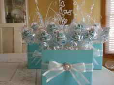Image detail for -Sweet Centerpiece Idea!-Tiffany Blue Cake Pop Centerpieces « Making . Tiffany Blue Cakes, Tiffany Blue Party, Tiffany Theme, Tiffany Wedding, Cake Pop Centerpiece, Blue Wedding Centerpieces, Bridal Shower Centerpieces, Centerpiece Ideas, Tiffany Centerpieces