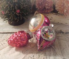 Three Vintage Pink Christmas Handpainted Glass by vintageaddie