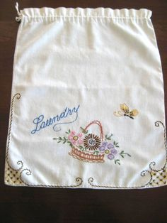 "Vintage Linen ""Laundry"" Bag w/Hand Embroidered Basket of Flowers"