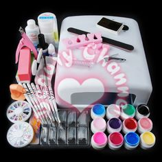 Hot Full Pro 36W UV White Lamp Dryer+12 Color UV Gel Nail Art Brush Tool Kit Set #Unbranded