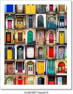 Colorful collage of variety of doors. Free art print of Doors.Jigsaw puzzle - Magic WorldWatch the puzzle I've completed with Puzzles & Jigsaws Free Art Prints, Modern Art Prints, Entrance Doors, Doorway, Wood Wall Art, Canvas Wall Art, Unique Doors, Through The Window, Painted Doors