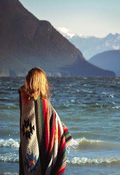 SHOT: Gigi, beach, poncho
