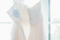 "For ""something blue"", have your new monogram stitched into your wedding dress."