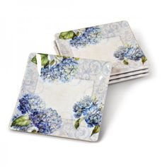 Blue Hydrangea Ribbed Square Plate (set of 4) from Lang.com, CK-1005