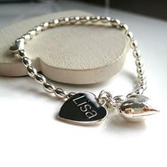 Personalised Silver Beaded Heart Bracelet: Item number: 3578041775 Currency: GBP Price: GBP16.95