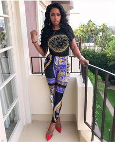 Remy Ma or Kash Doll in Versace s  795 Baroque Print Leggings (The Fashion  Bomb Blog) 4b31a64c30c2