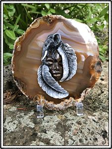 "polymer clay sculptures, sculpture artist,   Crystal Keeper ""Tuwa"" (name meaning Earth)  Handmade, hand painted,  Materials, Brown Agate Slice, Polymer Clay Grounding, Strength, Wisdom, elephant, crystal guide"