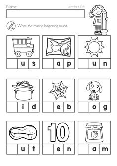 Beginning sounds Worksheets for Kindergarten St Patrick S Day Math & Literacy Worksheets & Activities No Beginning Sounds Worksheets, English Worksheets For Kindergarten, Free Kindergarten Worksheets, Phonics Worksheets, Kindergarten Learning, Preschool Learning Activities, Kindergarten Activities, Math Literacy, Lkg Worksheets
