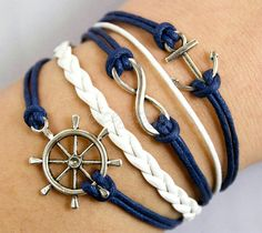 Silvery rudder and infinity with anchor bracelet,white with blue rope chain,white leather chain,Christmas,SL525. $7.99, via Etsy.