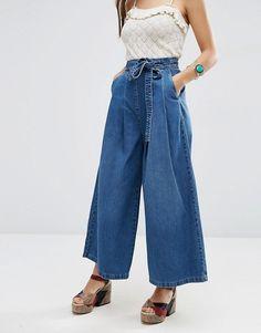 ASOS | ASOS Denim Super Wide leg Jeans with Tie Waist in Mid Wash Blue