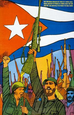 A 1969 poster marking the 10th anniversary of the Cuban rebellion,  by Felix René Mederos Pazos.