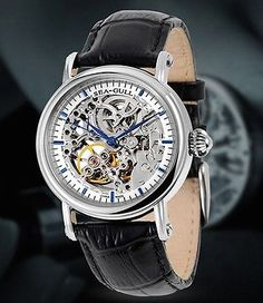 New Sea-Gull M182SK silver-colored skeleton automatic watch. New with Box.