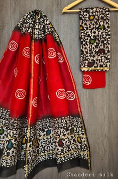 Price Rs 1600 + Shipping extra Hand block Printed chanderi silk dress materials Top and dupattas chanderi silk (2.50×2 mtrs) Bottom cotton (2.50 meters) Chanderi Suits, Chanderi Silk Saree, Patiala Suit, Churidar Suits, Anarkali Suits, Silk Sarees, Salwar Kameez, Elegant Fashion Wear, Silk Suit