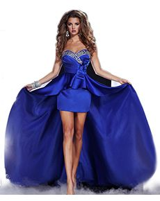 Ravishingly Lavish High-Low Hem Prom Dress. This strapless prom dress has a high-low hem combined with a sweetheart neckline to show off your legs and your chest! The unique style of this dress can make any girl feel like she's stepped into luxury for the night! All eyes will be on you the whole night!