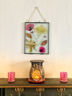 Excited to share this item from my shop: Large Real pressed flower handmade picture Pressed Flower Art, Hanging Pictures, Hanging Wall Art, Flower Pictures, Real Flowers, Candle Holders, Etsy Shop, Candles, Handmade Gifts