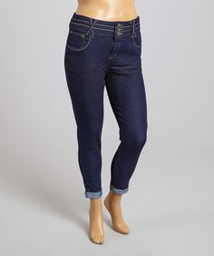 Loving this Dark Indigo Cuff Jeans - Plus on #zulily! #zulilyfinds