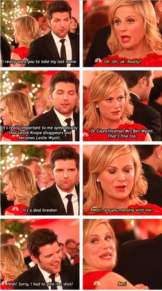 and Rec I hope one day to have a love as adorable as Ben and Leslie's!Parks and Rec I hope one day to have a love as adorable as Ben and Leslie's! Best Tv Shows, Best Shows Ever, Leslie And Ben, Parks And Recs, Ben Wyatt, Parks Department, Tv Show Quotes, Comedy Tv, Parks And Recreation