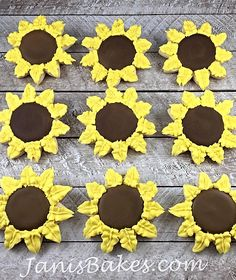 janisbakes, sunflower decorated cookies