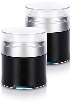 Black and Silver Airless Refillable Jar oz / 50 ml Pack) 50th, Packing, Industrial, Jar, Skin Care, Amazon, Silver, Travel, Black