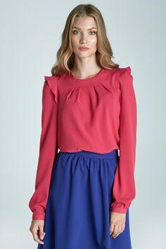 Romantic Fuschia Long-Sleeve Blouse With Ruffles