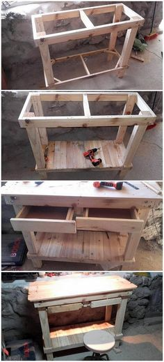 Beautifully innovatively designed table with drawers Pallet Crafts, Pallet Projects, Diy Pallet, Reclaimed Wood Furniture, Pallet Furniture, Recycled Pallets, Wood Pallets, Pallet House, Into The Woods