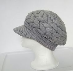Gray Knit Slouchy Brimmed Newsboy with Faux Fur Lining- Ready To Ship by TampaBayCrochet on Etsy