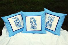 Top 20 Finalist: Delft Blue Embroidered Pillows by Antonia Surka