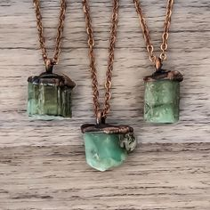 Raw Emerald and Copper Necklace | Bohemian Jewelry | Indie and Harper                                                                                                                                                                                 More