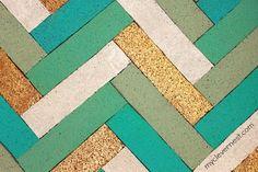 herringbone pattern out of cork board #office #clever_nest #bulletin_board
