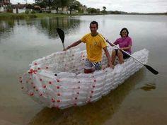 Boat made out of plastic 2 liter coke bottles