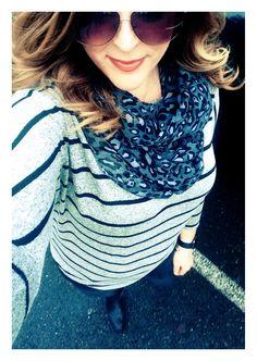 #dolman #stripeddolman #scarf #animalprint #stripes #leopard #OOTD