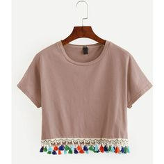 Pink Tassel Trimmed Crop T-shirt