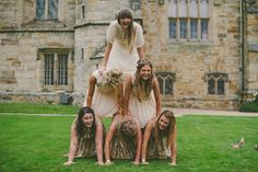 The best picture ever of bride with her bridesmaids. A Joyful Jubilee | Etsy Weddings Blog