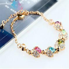 New 2017  Gold color Crystal Cute Lovely ladybug joaninha charm chain Bracelets & Bangles Fashion Jewelry for women JE52