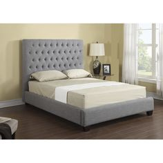 Stately style comes in a queen or king size to upgrade a bedroom look. Bolt-on rails give this Sophia platform bed stability, while nail head accents flaunt its dignified sophistication.