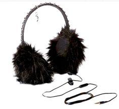 NIB Juicy Couture Black Faux Fur Glamour Girl Earmuff Headphones in Gift Box  #JuicyCouture #earmuffs #winter